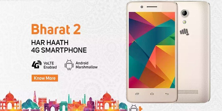 8698ef4a2 Micromax and Vodafone launch Bharat2 Ultra 4G Smartphone for Rs 999 ...