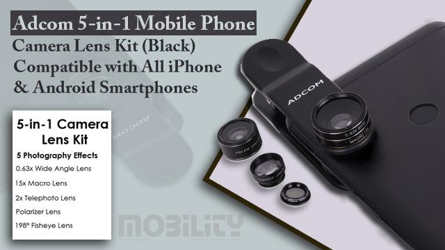 Adcom 5-in-1 mobile phone camera lens kit