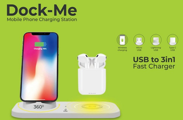 DockMe' 3-in-1 Docking & Wireless Charging Station for All Smartphones 01