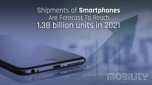 Shipments of smartphones are forecast to reach 1.38 billion units in 2021
