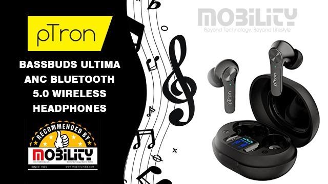 pTron Bassbuds Ultima ANC Bluetooth 5.0 Wireless Headphones